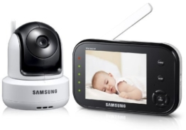 Samsung SEW-3037 Baby Monitoring System (8,9 cm (3,5 Zoll) LCD-Monitor, bis 4-Kamera, QVGA, CMOS-Sensor, Nachtsicht) weiß -